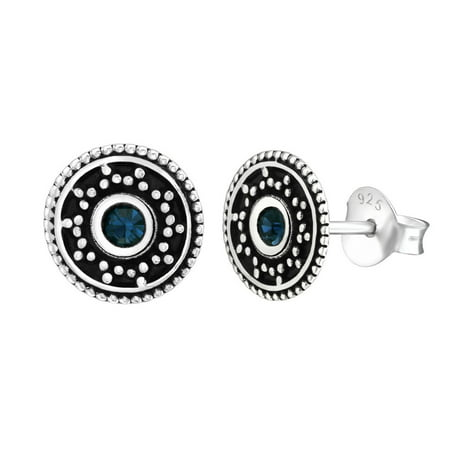 Simulated Sapphire Cubic Zirconia Beaded Disc Antique Stud Earring Sterling Silver