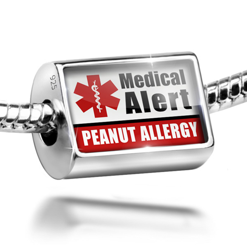Neonblond Bead Medical Alert Red Peanut Allergy Charm Fit...