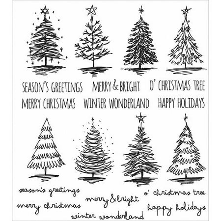 Christmas Rubber Stamps (Tim Holtz Cling Rubber Stamp Set, 7
