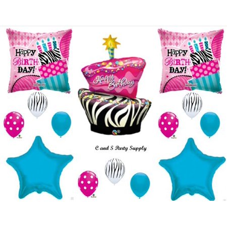 Zebra & Polka Dots Cake BIRTHDAY PARTY Balloons Decorations Supplies 16th 13th Teenager Hippy