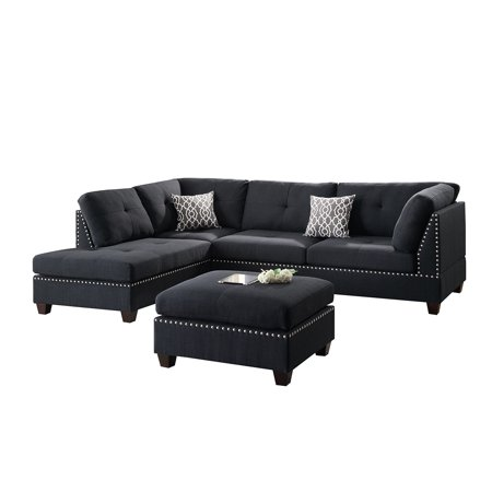 Bobkona Viola Linen Like Polyfabric Left Or Right Hand Chaise Sectional Set With Ottoman In Black