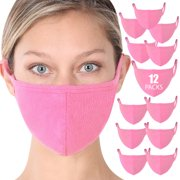 Fashion Washable Soft Cotton Adults Unisex One Size Face Covering Mask - Candy Pink (12 Packs)