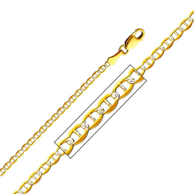 Precious Stars SEC0269180 Yellow Gold 2 mm.  Mariner Chain 18 inch Necklace