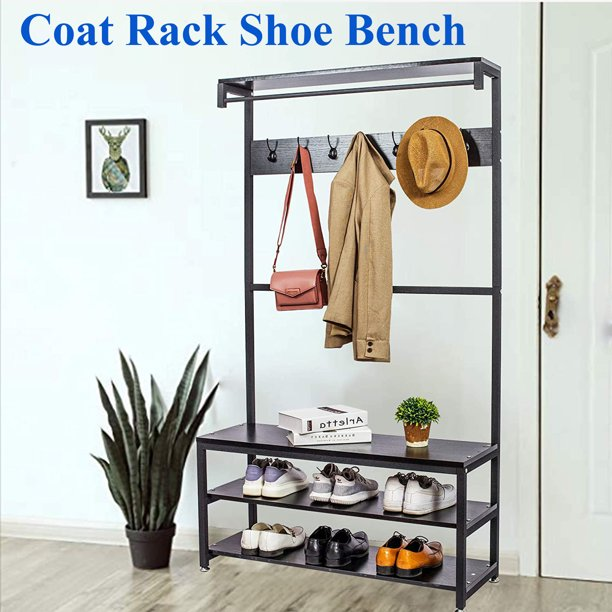 Tophomer 3-in-1 Coat Hat Shoe Rack Stand Bench Storage Shelves