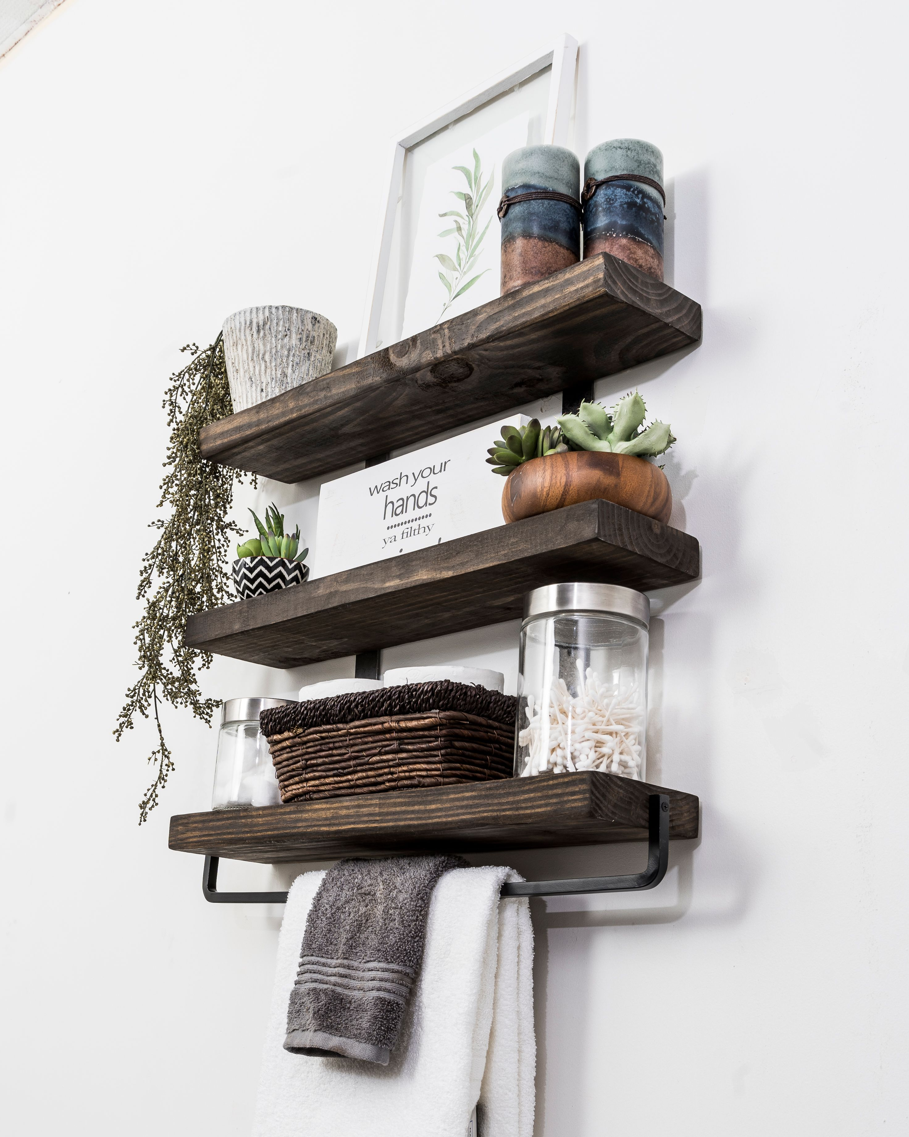 Surprising Industrial 3 Tier Floating Shelf With Towel Bar 24 Download Free Architecture Designs Rallybritishbridgeorg