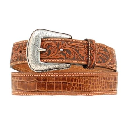 Nocona Western Belt Mens Gator Print Leather Rich Earth N2495208 ()