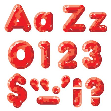 RED GEMS READY LETTERS 4IN UPPER LOWERCASE COMBO