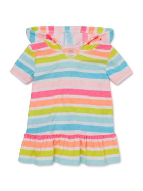 Wonder Nation Baby Girls and Toddler Girls Striped Swim Coverup