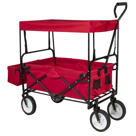 Garden Cart Wagon - Best Choice Products Folding Utility Cargo Wagon Cart for Beach, Camping, Groceries w/ Removable Canopy, Cup Holders - Red