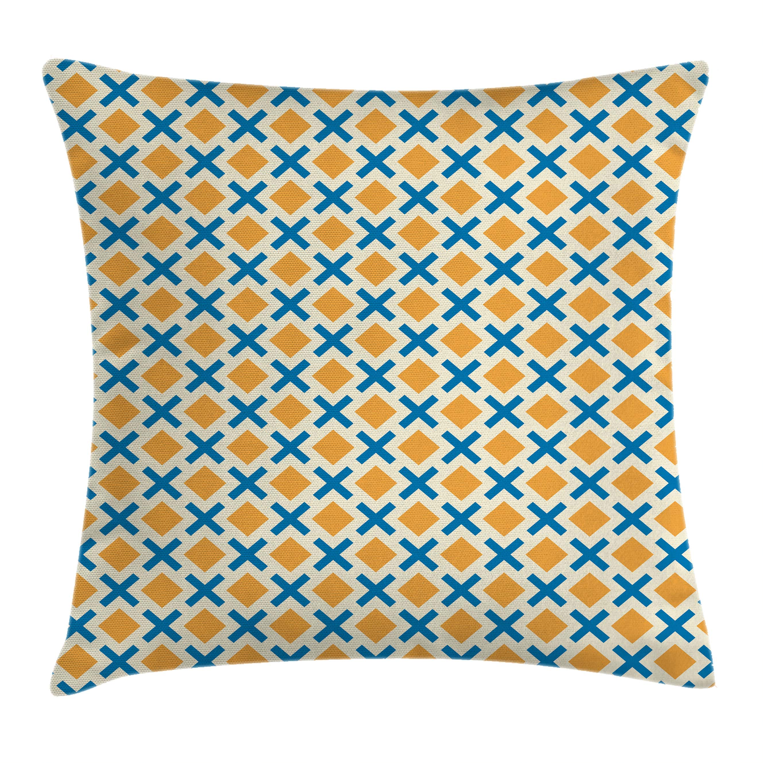 Kids Throw Pillow Cushion Cover, Checked Pattern with Dashed Lines and Squares Diagonal Geometrical Retro Tile, Decorative Square Accent Pillow Case, 16 X 16 Inches, Blue Marigold Cream, by Ambesonne