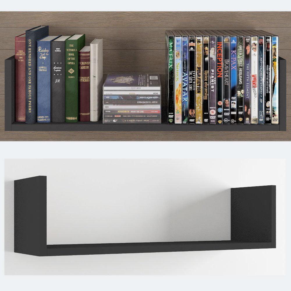 Wall Mount Floating Solid Wood Modern U Shaped 23 Inch Living Room Shelves By Wallniture Set Of 2 Black