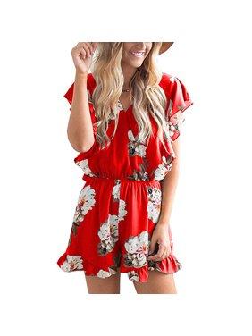 Women's Jumpsuits - Ruffle Cap Sleeves Wrap V Neck Floral Print Elastic Waist Short Rompers