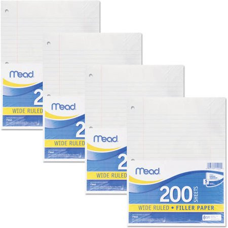 Mead Filler Paper, Wide Ruled, 3-Hole Punched, 10-1/2 x 8, 200 Sheets Per Pack, 4-Pack