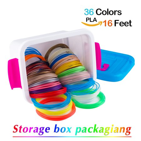 16 Linear Feet - NanHong roll outThe New 3D Pen Filament Refills Storage box Kit 6 Glow in the Dark Colors 1.75mm pla.36 Colors/16 Feet Each Colors Kit,590 Linear Feet Total of