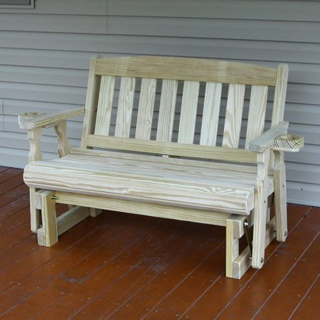 Amish Heavy Duty 800 Lb Mission Pressure Treated Porch Glider With Cupholders (4 Foot, Unfinished) ()