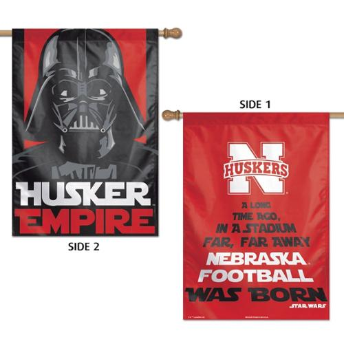 Nebraska Cornhuskers Official NCAA 28 inch  x 40 inch  Star Wars Darth Vader Two Sided Vertical Flag by Wincraft