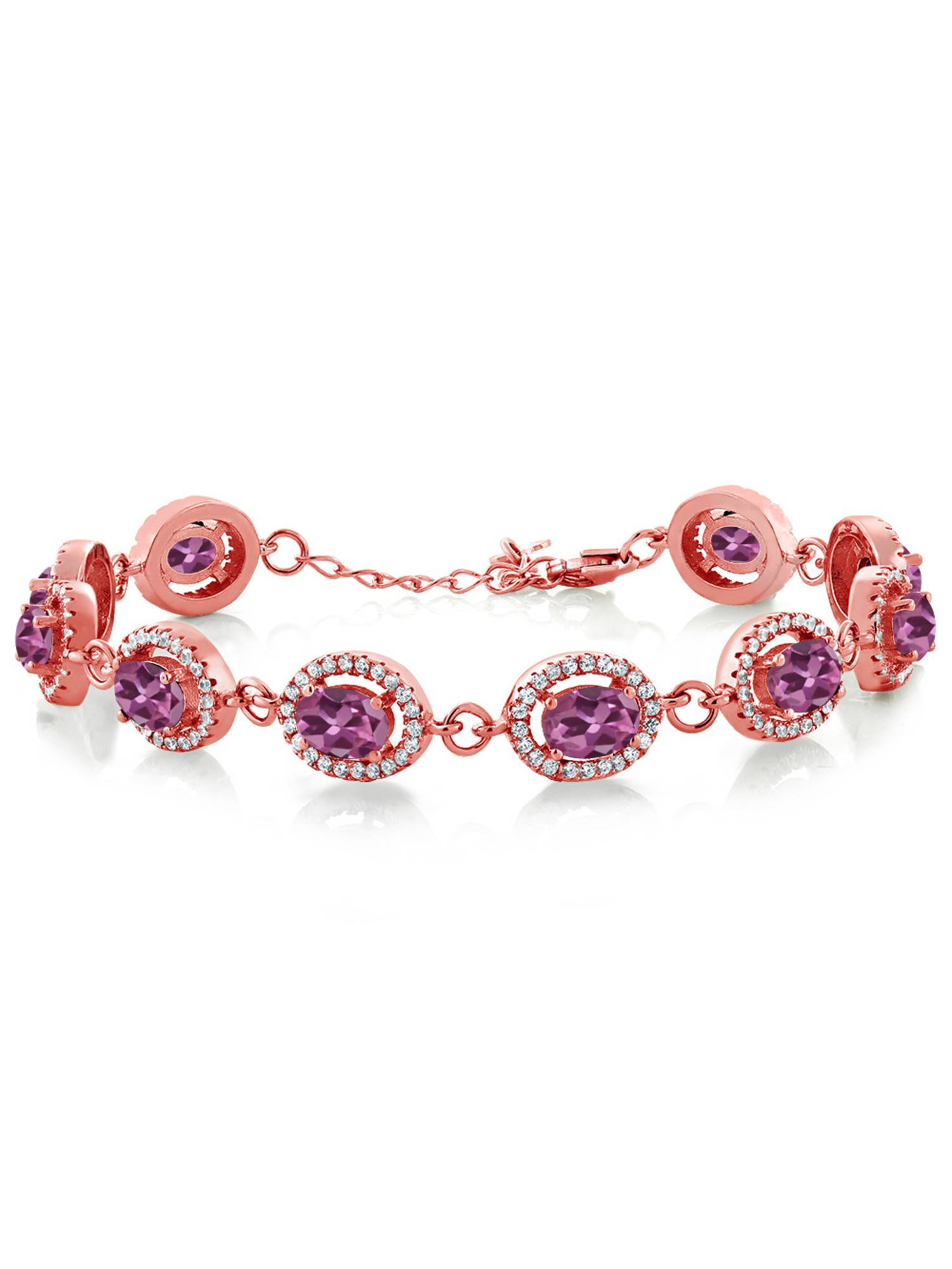 9.88 Ct Oval Pink Tourmaline AA 18K Rose Gold Plated Silver Bracelet by