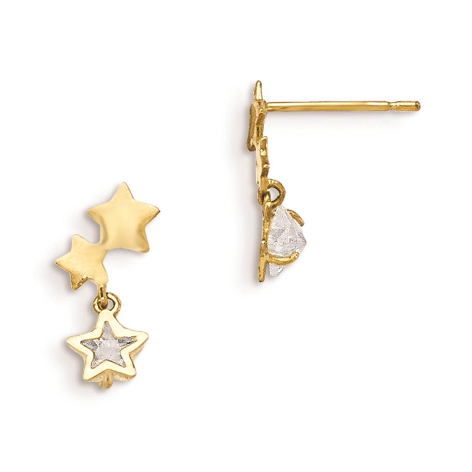 Madi K 14k Yellow Gold Children's Star Dangle Post Polished Earrings