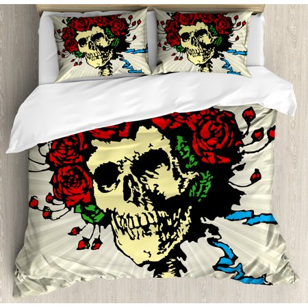 Rose King Size Duvet Cover Set, Tattoo Art Style Graphic Skull in Red Flowers Crown Halloween Composition Print, Decorative 3 Piece Bedding Set with 2 Pillow Shams, Beige Multicolor, by Ambesonne