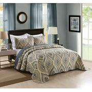 MarCielo 3 Piece Quilted Bedspread Queen, Printed Quilt, Quilt Set Bedding Throw Blanket Coverlet Oversize Lightweight Bedspread Ensemble, Dark Grey Queen Size, Joni
