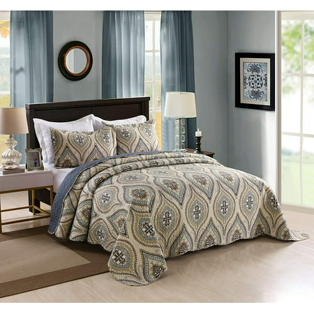 Marcielo 3 Piece Quilted Bedspread Queen Printed Quilt