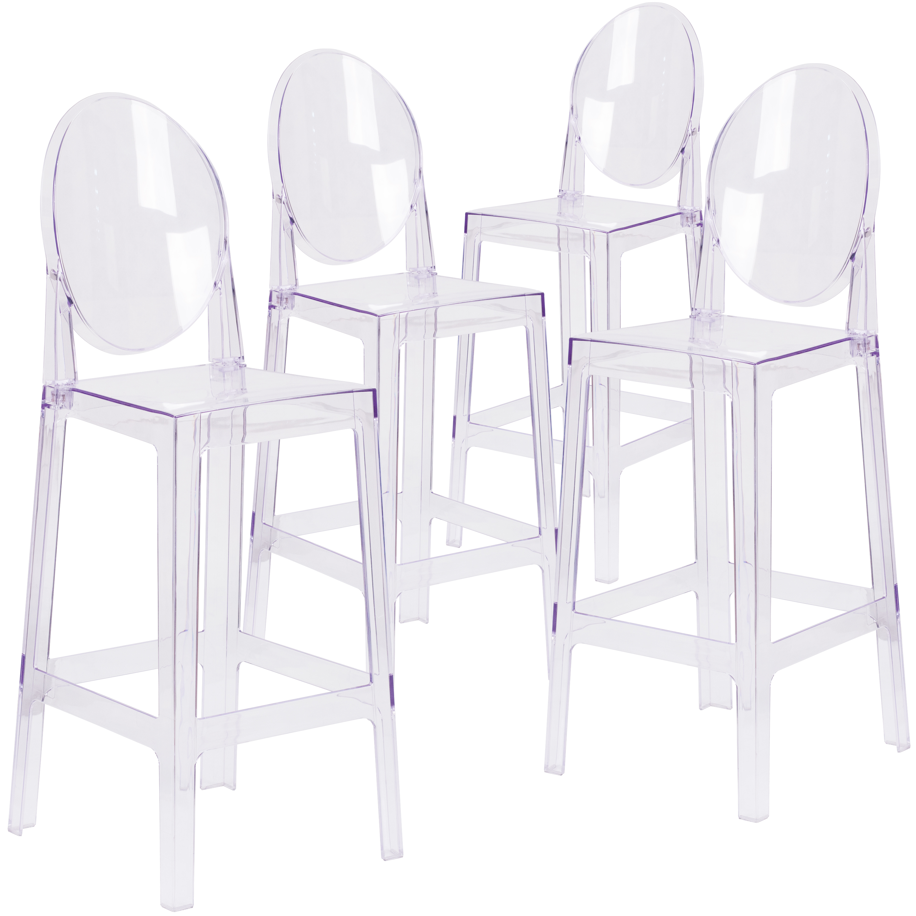 Flash Furniture 4 Pk. Ghost Barstool in Transparent Crystal with Oval Back
