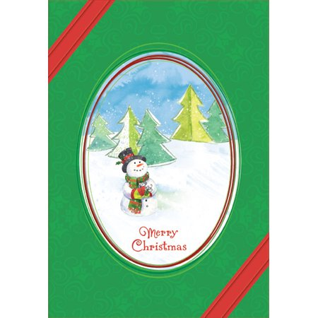 Oval Window Card (Designer Greetings Snowman in Oval Frame Christmas)