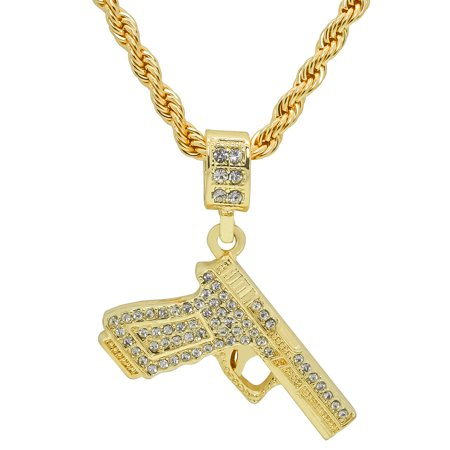 14K Gold Plated Iced Out Hip Hop Bling Handgun Pistol Glock Pendant With 24