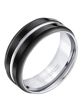 Men's Black Comfort Fit Titanium Wedding Band Ring, 8mm
