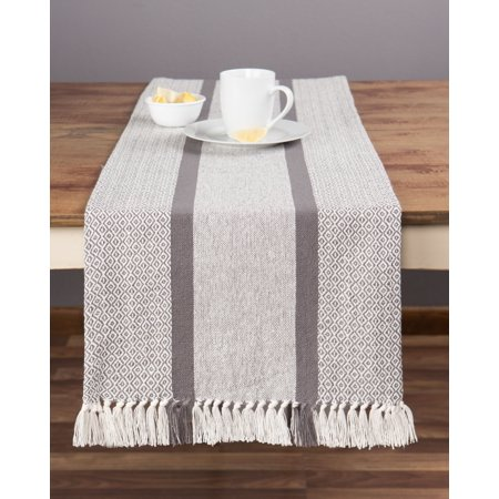 Sticky Toffee Cotton Woven Table Runner with Fringe, Traditional Diamond, Gray, 14 in x 72 in - Grass Table Runner
