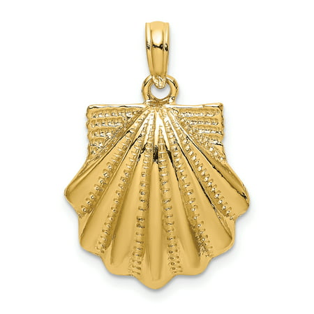 14K Textured 2-D Scallop Shell Charm K7657 (Scalloped Shell Charm)