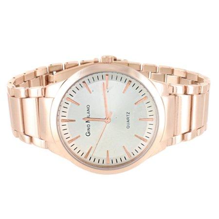 Rose Gold Tone Watch Gino Milano White Dial Quartz Round Face Classy Wristwatch Rose White Wrist Watch