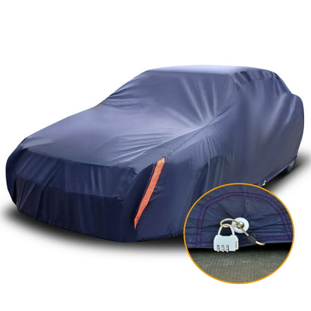 """Universal Fit Car Cover Waterproof Anti Scratch Indoor Outdoor Auto Protector Fits Cars up to 208"""" W/Lock (Dark Blue)"""