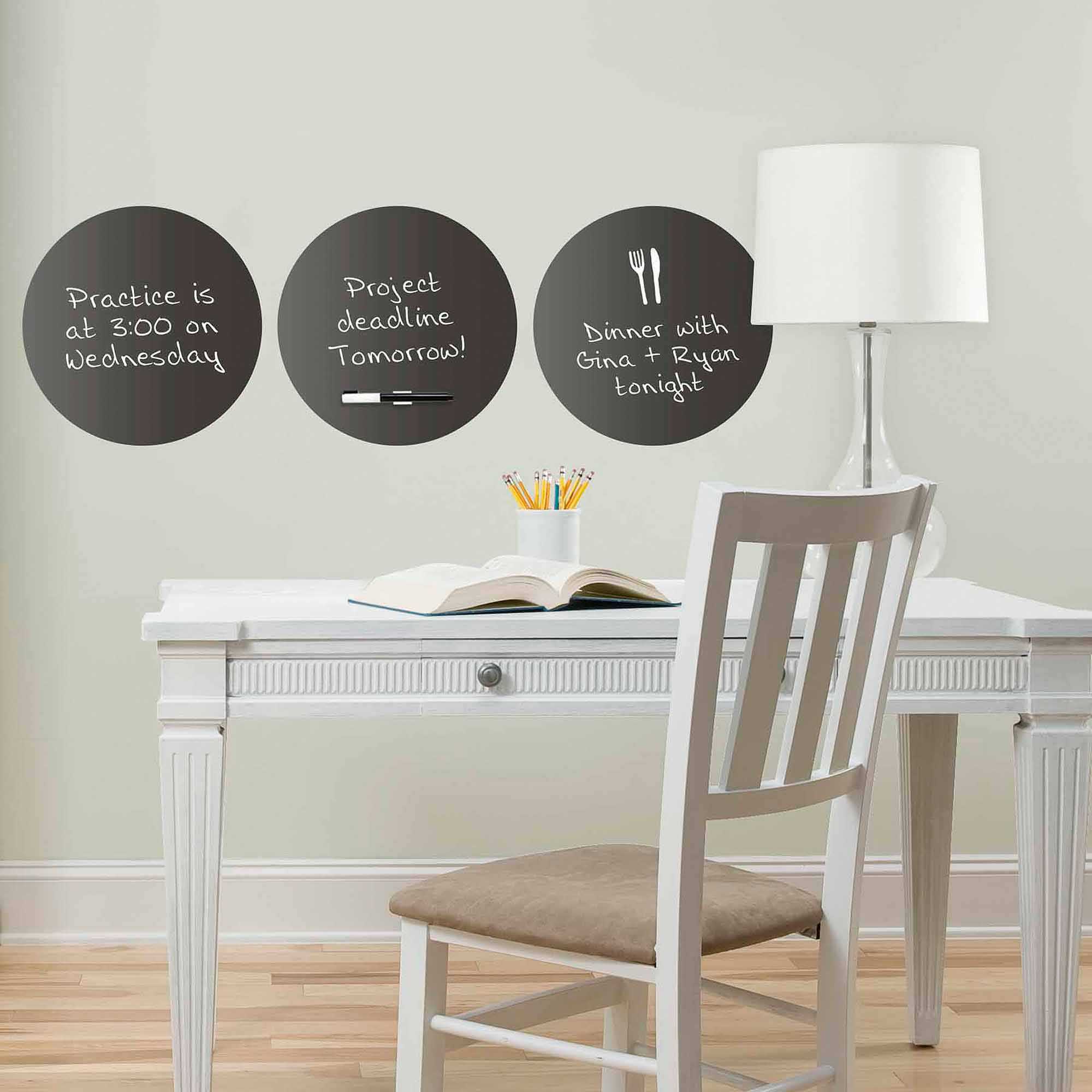 Charcoal Black Dry Erase Dot Decals