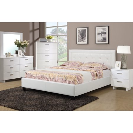 Fresh & Fun Style White Faux Leather Accent Tufted HB Full Size bed 4pc Set  Modern Dresser Mirror Nightstand Bedroom Furniture