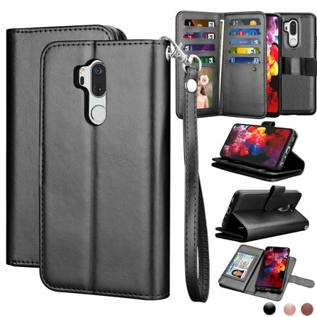 pretty nice c8d5e 2242f LG G7 ThinQ Case, G7 ThinQ Wallet Case, LG G7 ThinQ Pu Leather Case, Njjex  Pu Leather Magnet Stand Folio Flip Built-in 9 Card Slots With Wrist Strap  ...