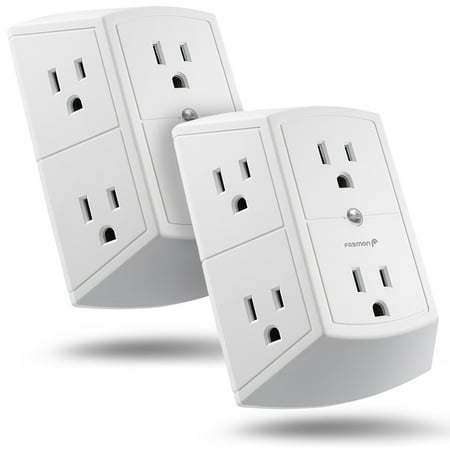 6 Outlet Wall Adapter Tap (2 Pack), Fosmon ETL Listed 3-Prong 15A 125VAC 60Hz 1875Watts 3 Sided Grounded Indoor AC Plug - White
