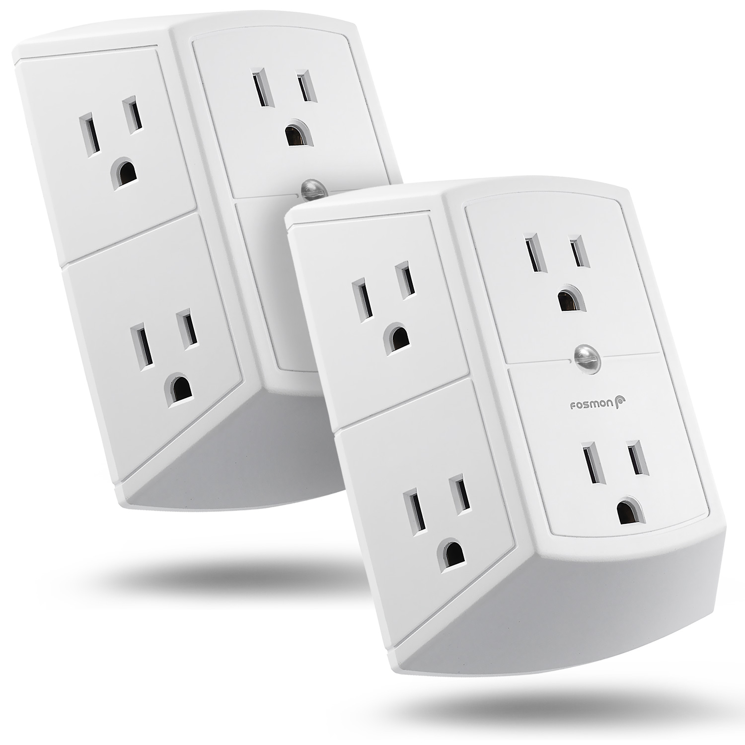 White Easy-to-Install UL Listed for Home//School//Office Kasonic Multi Plug Outlet 4 PACK Wall Mount power strip with 6 Outlet Tap; Grounded Wall Plug Extender
