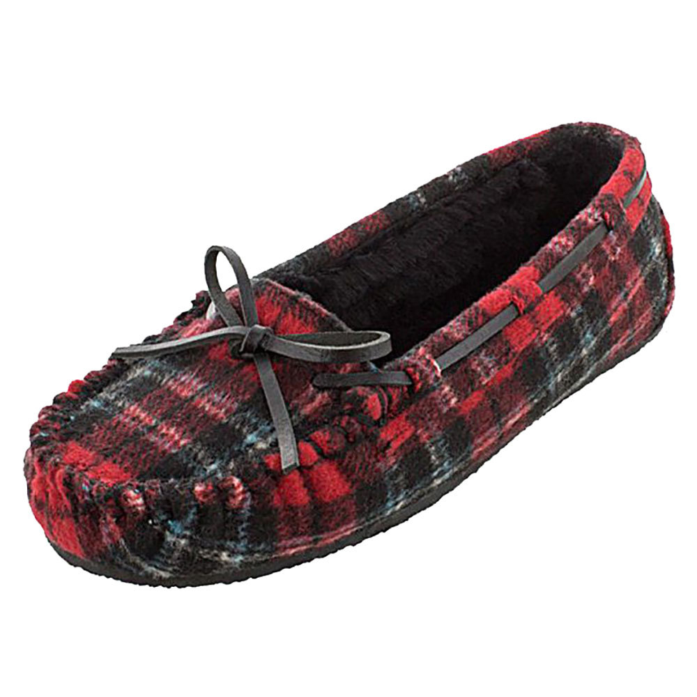 Minnetonka Womens Red Plaid Cally Slipper by MINNETONKA