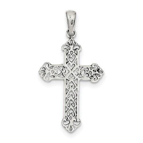 Sterling Silver Antiqued Fleur de lis Cross Pendant