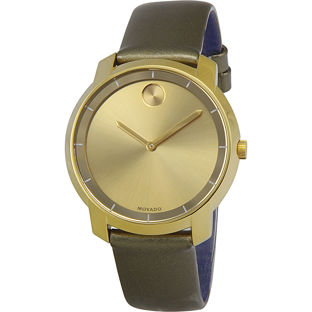 Movado Bold Yellow Gold Sunray Dial Green Leather Laides ...