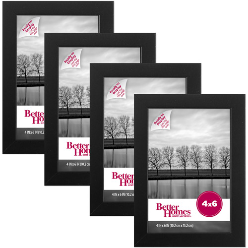 "Better Homes and Gardens Gallery 4"" x 6"" Picture Frame, Black, Set of 4"