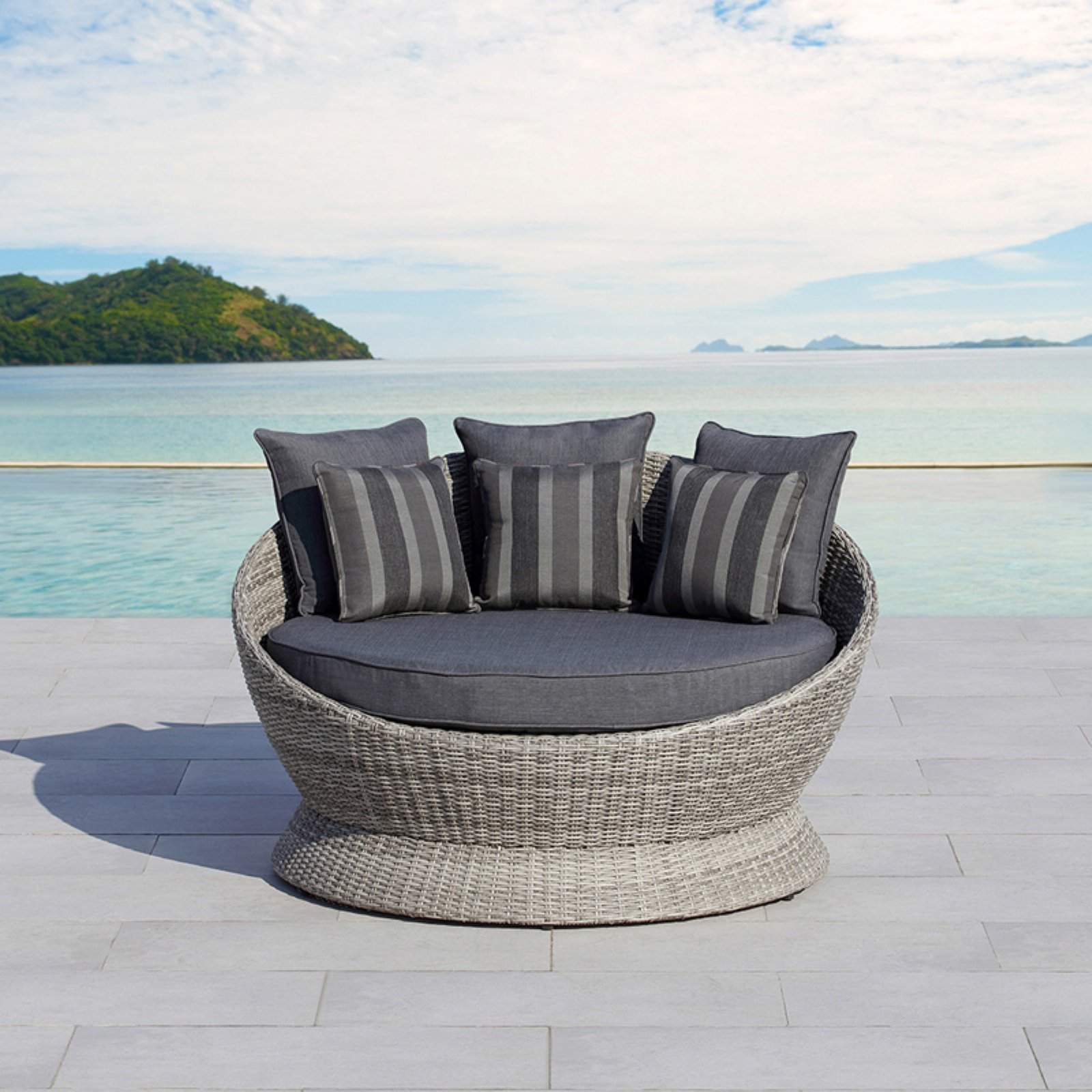 Ove Decors Brisbane Gray Wicker Outdoor Daybed