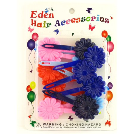 Girls Self Hinge Plastic Flower Hair Barrettes - 18 Pcs., GREAT PARTY FAVORS, EASTER BASKET & STOCKING STUFFERS By Eden Ship from US