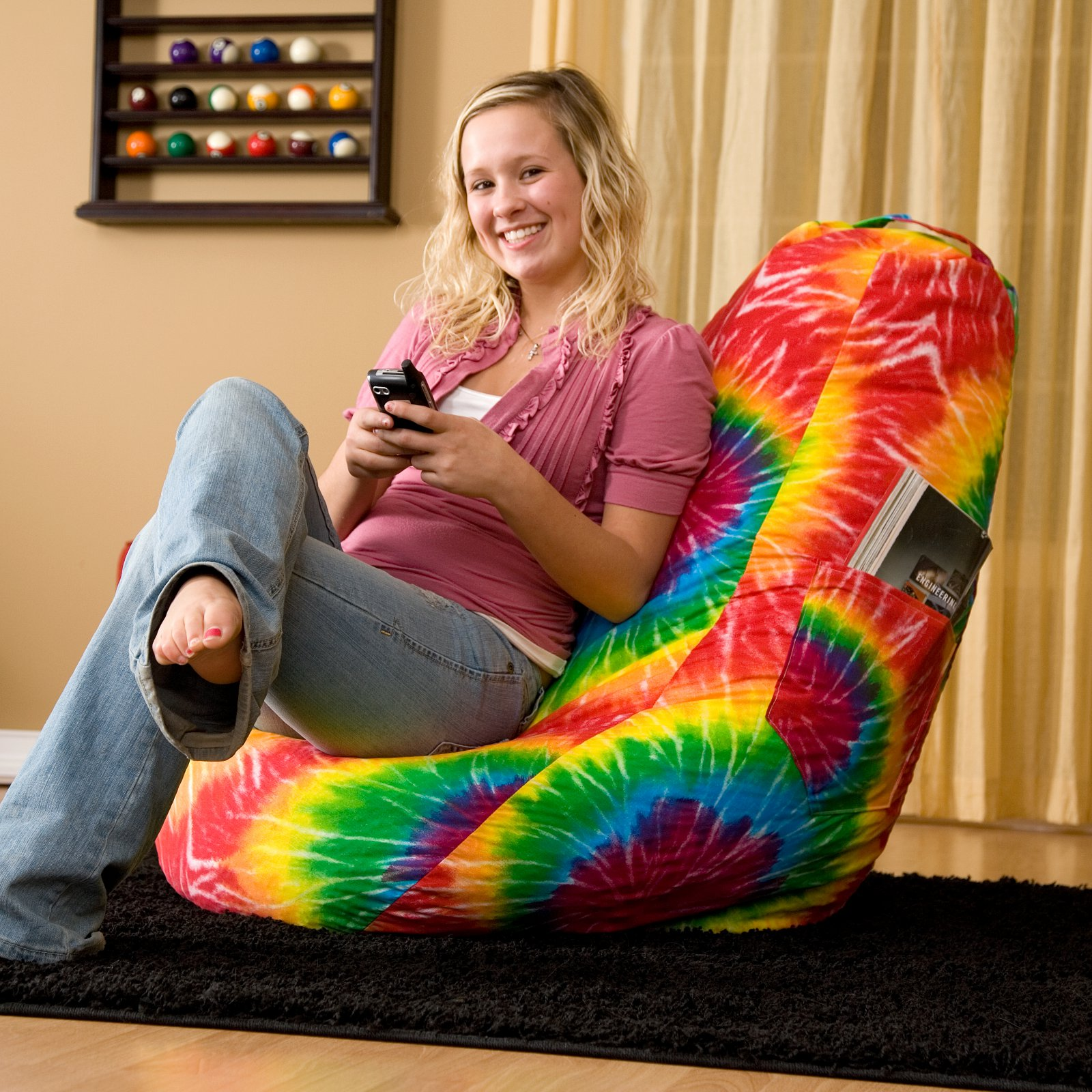 Dorm/Gamer Tear Drop Denim Look Bean Bag with Pocket