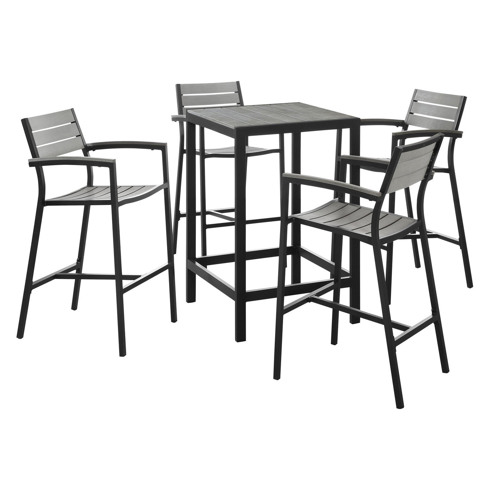 Modway Maine 5-Piece Outdoor Patio Bar Set, Multiple Colors