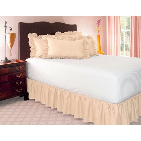 QUEEN  Solid Bed Bedding Skirt Soft 100% Soft Smooth Microfiber Pleated-Only on 4 Corners RUFFLE MANY COLORS - Orange Ruffle Edge