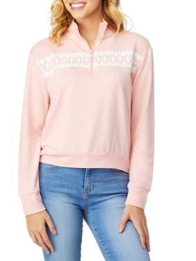 c9be0c675 Product Image Juniors  Crochet Lace Trim Collared Pullover Zip Sweater