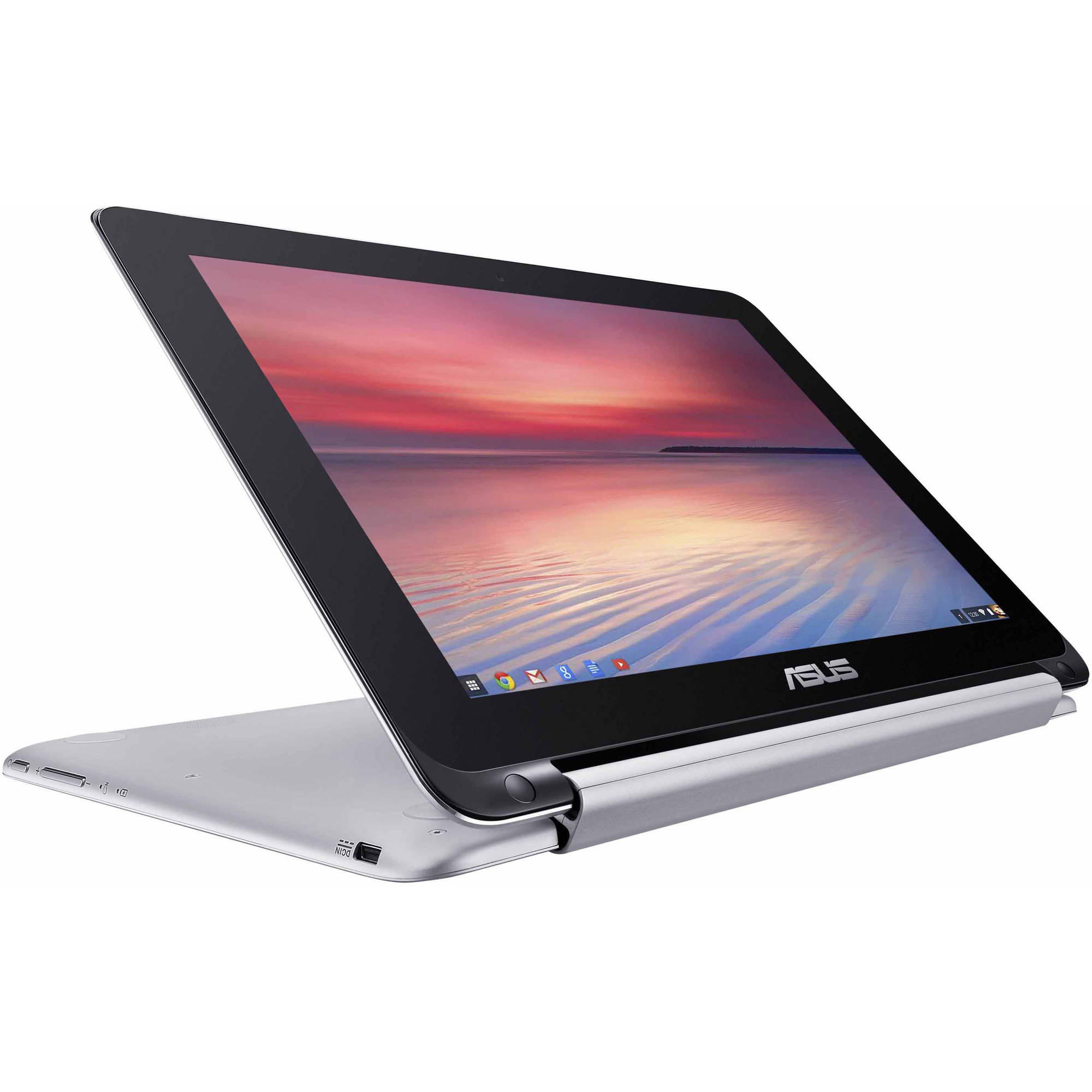 "ASUS Silver 10.1"" Flip Chromebook PC with Rockchip 3288-C Quad-Core Processor, 4GB Memory, touch screen, 16GB SSD and Chrome OS"