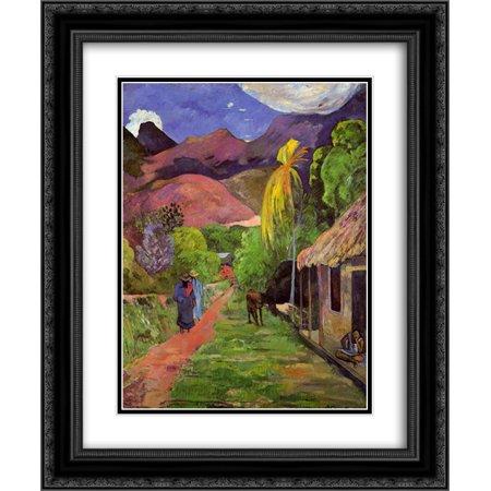 Paul Gauguin 2x Matted 20x24 Black Ornate Framed Art Print 'Road in Tahiti'